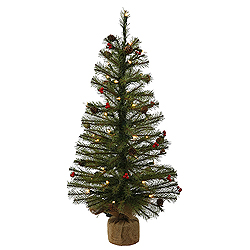 2 Foot Fresh Pistol Berry Pine Artificial Christmas Tree  35 Clear Lights