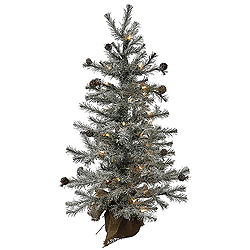 2 Foot Frosted Pistol Pine Artificial Christmas Tree 35 Clear Lights