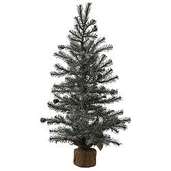 2.5 Foot Frosted Pistol Pine Artificial Christmas Tree - Unlit - Burlap Base