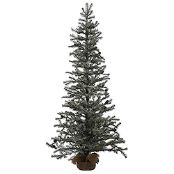 3 Foot Frosted Pistol Pine Artificial Christmas Tree - Unlit - Burlap Base