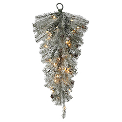 30 Inch Frosted Pistol Pine and Cones Artificial Christmas Teardrop With 50 Clear Lights