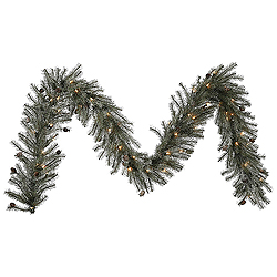9 Foot Frosted Pistol Pine Garland 50 Clear Lights