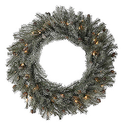 24 Inch Frosted Pistol Pine Wreath 35 Clear Lights