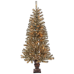 5 Foot Potted Mocha Tinsel Artificial Christmas Tree 150 Clear Lights