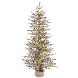 24 Inch Mocha Tinsel Artificial Christmas Tree Unlit