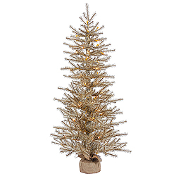 36 Inch Mocha Tinsel Artificial Christmas Tree 50 Clear Lights