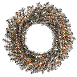 30 Inch Mocha Tinsel Wreath 50 Clear Lights