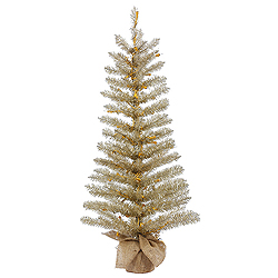 4 Foot Champagne Tinsel Artificial Christmas Tree - Unlit - Burlap Base