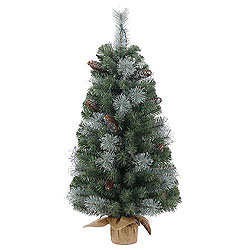 2 Foot Shasta Blue Mixed Pine Artificial Christmas Tree - Unlit - Burlap Base
