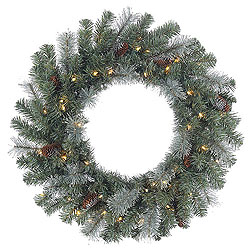 30 Inch Shasta Blue Mixed Pine Wreath 50 Clear Lights