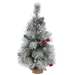 1.5 Foot Frosted Mixed Berry Pine Artificial Christmas Tree - Unlit - Burlap Base