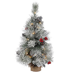 2 Foot Frosted Mixed Berry Pine Artificial Christmas Tree 20 Clear Lights