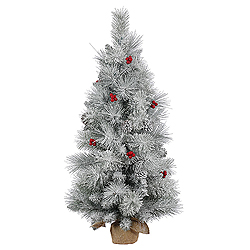 3 Foot Frosted Mixed Berry Pine Artificial Christmas Tree Unlit