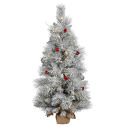 3 Foot Frosted Mixed Berry Pine Artificial Christmas Tree 50 Clear Lights