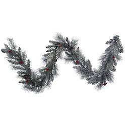 9 Foot Frosted Mixed Berry Pine Garland