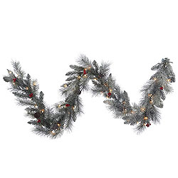 9 Foot Frosted Mixed Berry Pine Garland 50 Clear Lights
