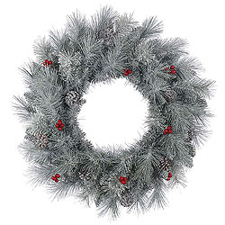 30 Inch Frosted Mixed Berry Pine Wreath