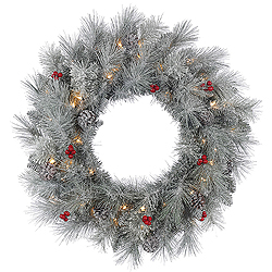 30 Inch Frosted Mixed Berry Pine Wreath 50 Clear Lights