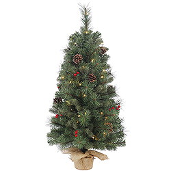 2 Foot Wesley Mixed Pine Artificial Christmas Tree 35 Clear Lights
