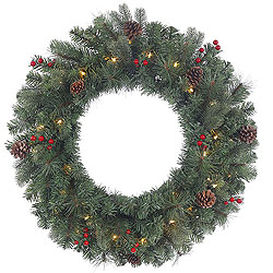 30 Inch Wesley Mixed Pine Wreath 50 Clear Lights