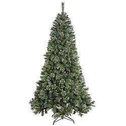 7.5 Foot Butte Mixed Pine Artificial Christmas Tree 500 Clear Lights