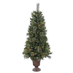 5 Foot Potted Butte Mixed Pine Artificial Christmas Tree 150 Clear Lights