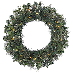 30 Inch Butte Mixed Pine Wreath 50 Clear Lights