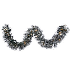9 Foot Frosted Brewer Pine Garland 50 Clear Lights