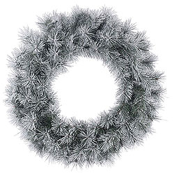 24 Inch Frosted Brewer Pine Wreath