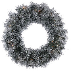 24 Inch Frosted Brewer Pine Wreath 35 Clear Lights