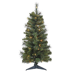 3 Foot Classic Mixed Pine Artificial Christmas Tree 50 Clear Lights