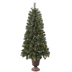 5 Foot Potted Classic Mixed Pine Artificial Christmas Tree 150 Clear Lights
