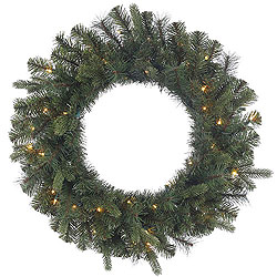 24 Inch Classic Mixed Pine Wreath 35 Clear Lights