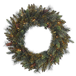 30 Inch Reno Mixed Pine Wreath 50 Clear Lights