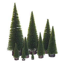 3 Inch Moss Green Pine Village Tree 6 per Set