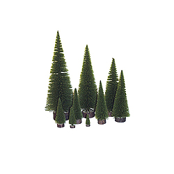 13 Inch Moss Green Village Artificial Christmas Tree