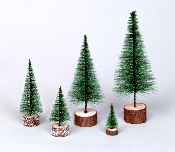 5 Inch Green Village Tree 6 per Set