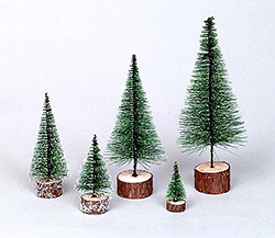 5 Inch Frosted Green Village Tree 6 per Set