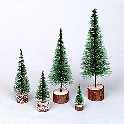 7 Inch Frosted Green Village Tree 4 per Set