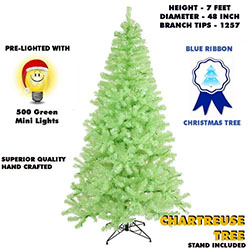 7 Foot Chartruese Lighted Artificial Christmas Tree With Green Tree Lights