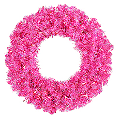 24 Inch Hot Pink Wreath 50 Pink Lights