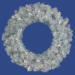 24 Inch Silver Wreath 50 Clear Lights