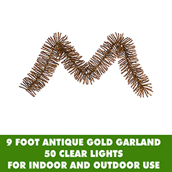 9 Foot Antique Gold Mini Garland 50 Clear Lights