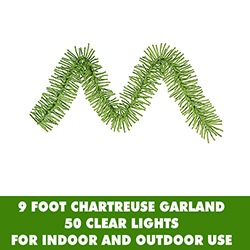 9 Foot Chartreuse Mini Garland 50 Clear Lights
