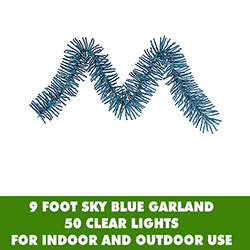 9 Foot Sky Blue Mini Garland 50 Clear Lights