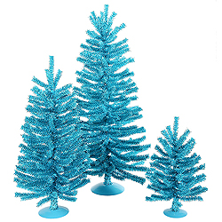 Mini Village Sky Blue Artificial Christmas Trees Unlit 3 Piece Set