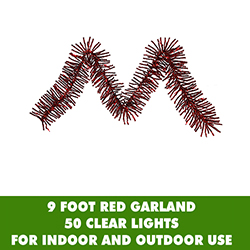 9 Foot Red Mini Garland 50 Clear Lights