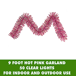 9 Foot Hot Pink Mini Garland 50 Clear Lights
