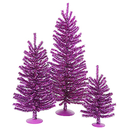 Mini Village Purple Artificial Christmas Trees Unlit 3 Piece Set