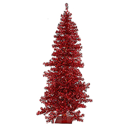 7.5 Foot Red Wide Cut Artificial Christmas Tree - 300 Red Lights